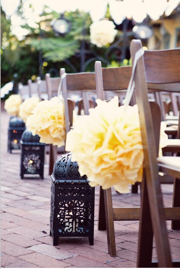 boda, chic, novios, decoración, romántico, pompones.