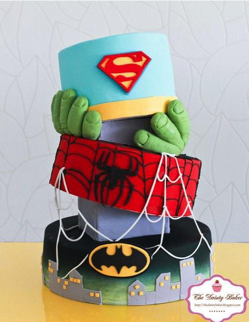 cake, tarta,poster,rico, dulce, super héroes, superman, batman, hulk