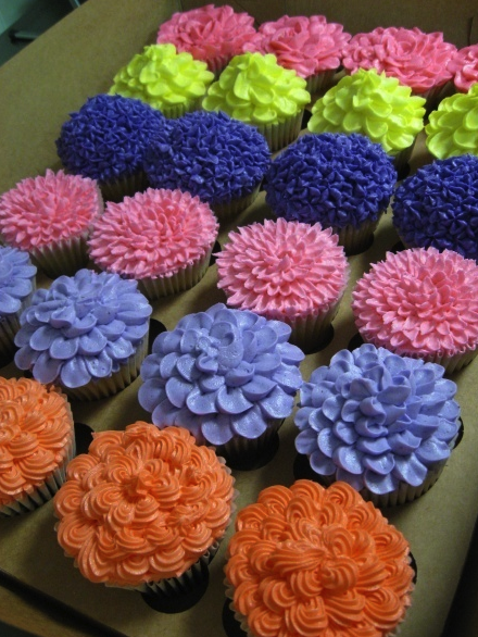 cupcakes, dulce, flores, postres