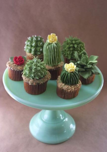 dulces, cupcakes, rico, postres, cactus