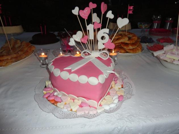 tarta, postre, aniversario, dulce, rico, números, rosa