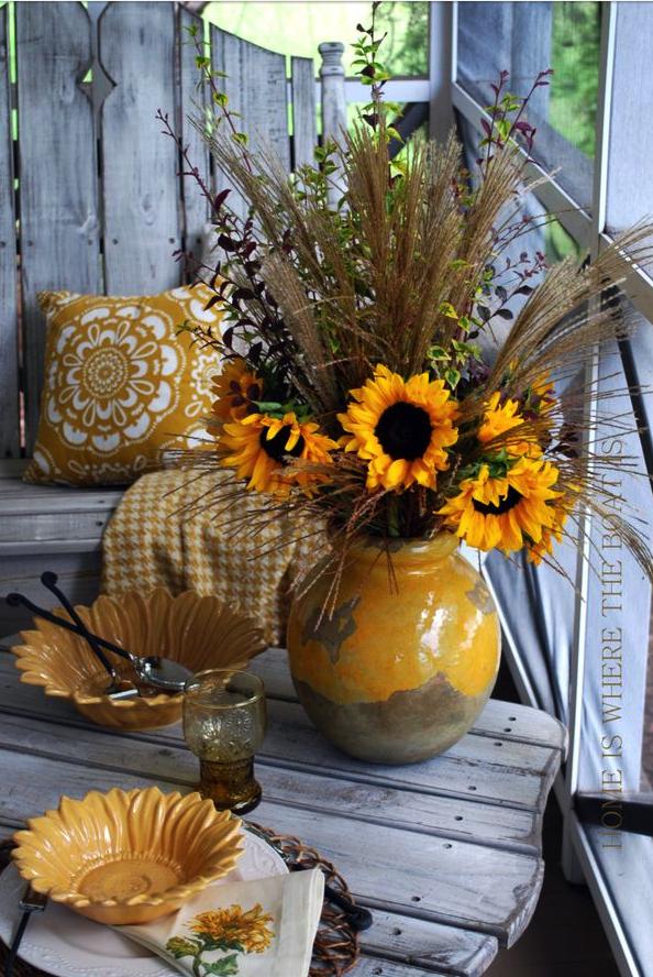 mesa, decoración, naturaleza, girasoles, invitados, mesa