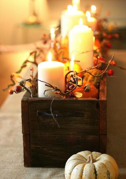 otoño, velas, decoración, centro,