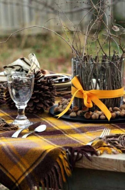 otoño, decoración,mesa, naturaleza, velas,