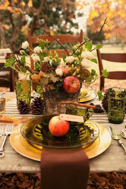 mesa, decoración, otoño, comensales, invitados