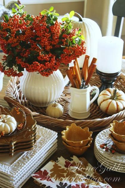 mesa, invitados, otoño, comensales, decoración