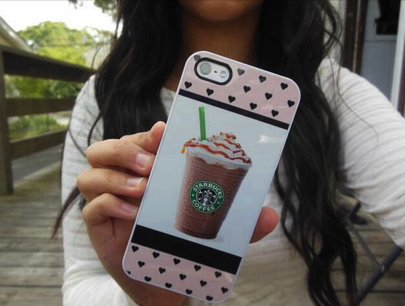 Starbucks, funda, móvil, trendy