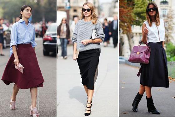 Falda, trompeta, outfit, tendencia, moda, mujer, midi, skort, origami