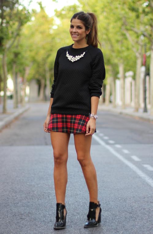 Zara, falda, escocés, tartán, outfit, moda, mujer