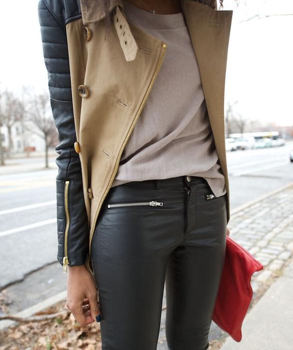 cuero, pantalones, chaqueta, tendencia, moda, mujer, outfit