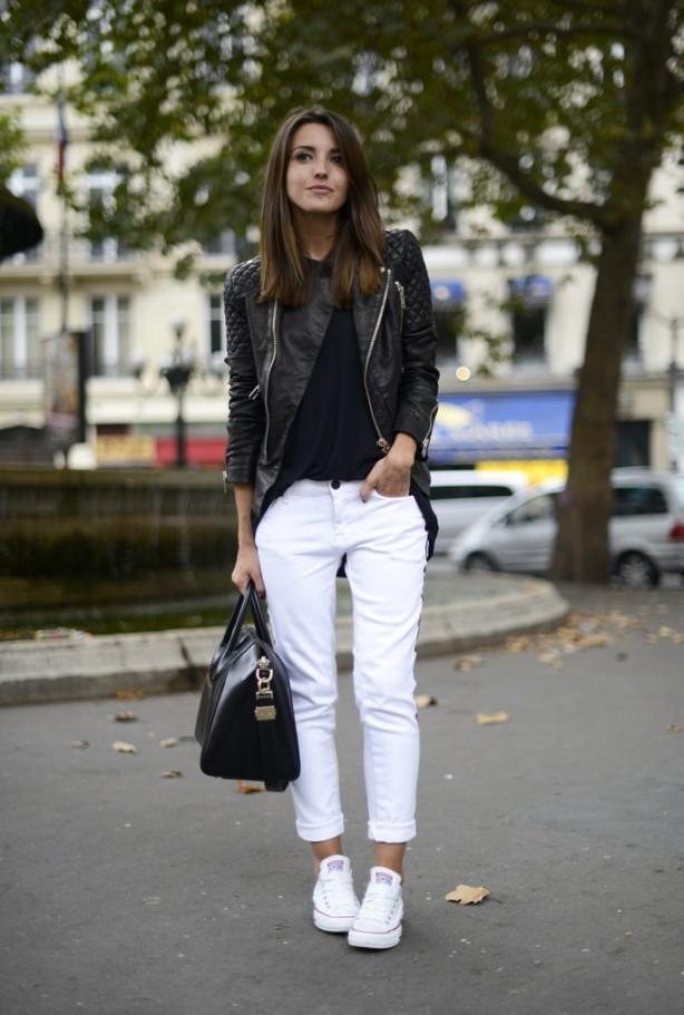pantalones, cuero, tendencia, moda, outfit, mujer, cazadora