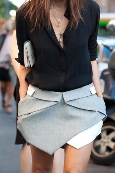falda, origami, skort, outfit, mujer, moda, tendencia