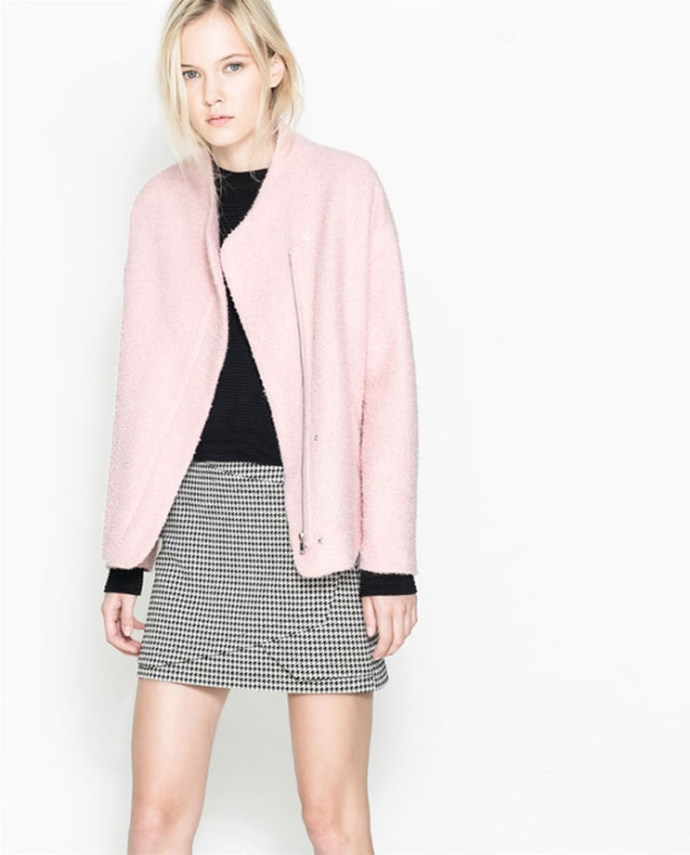 falda, abrigo rosa chicle, pata de gallo, outfit, moda