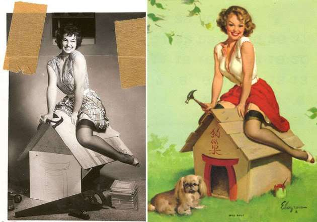 Pin up, retoque, foto, pincel, mujer, Photoshop, before and after