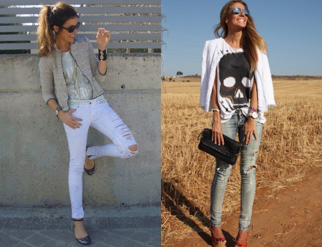 Ripped jeans, vaqueros, rotos, outfit, moda, mujer