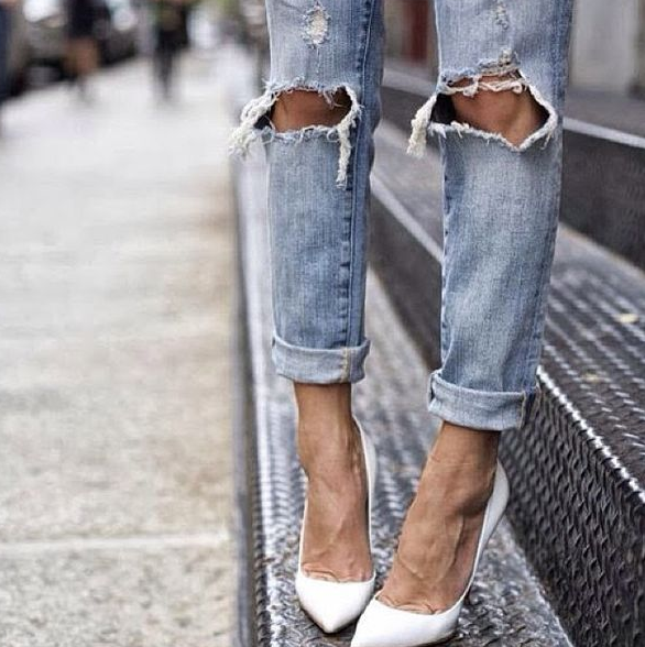 jeans, vaqueros, pantalones, ripped, frayed, outfit, tendencia, mujer, pegatinas