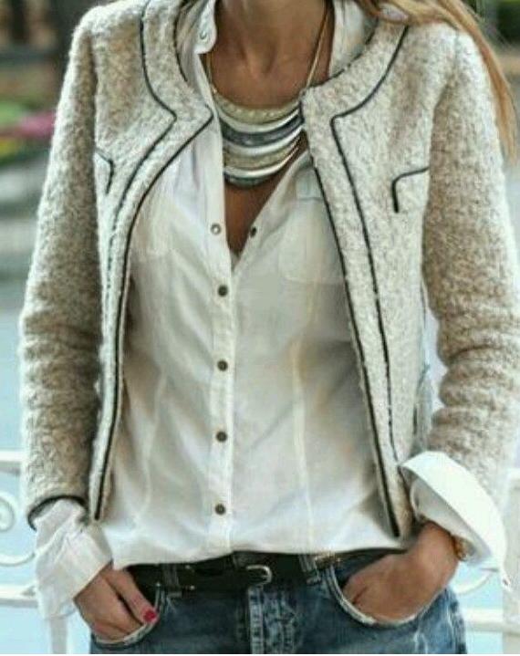 chaqueta, tweed, hombre, outfit, moda, tendencia, mujer