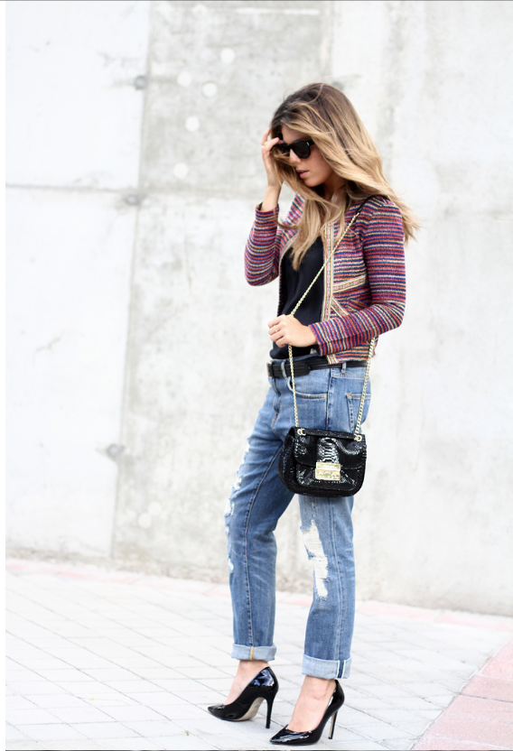 moda, outfit, jersey, mujer, tendencia, chaqueta lady like