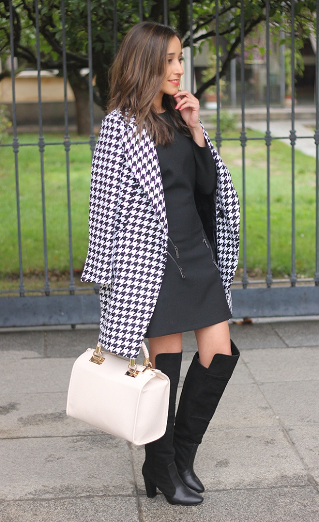 Total black, negro, outfit, tendency, mujer, blanco y negro