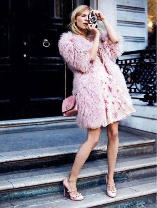 pelo, rosa, abrigo, fur coat, tendencia, Moda, outfit, mujer