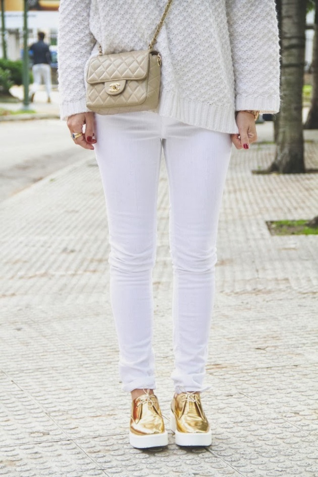 zapatos, creepers, metalizados, tendencia, outfit, mujer