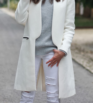 abrigo, blanco, moda, tendencia, outfit, mujer