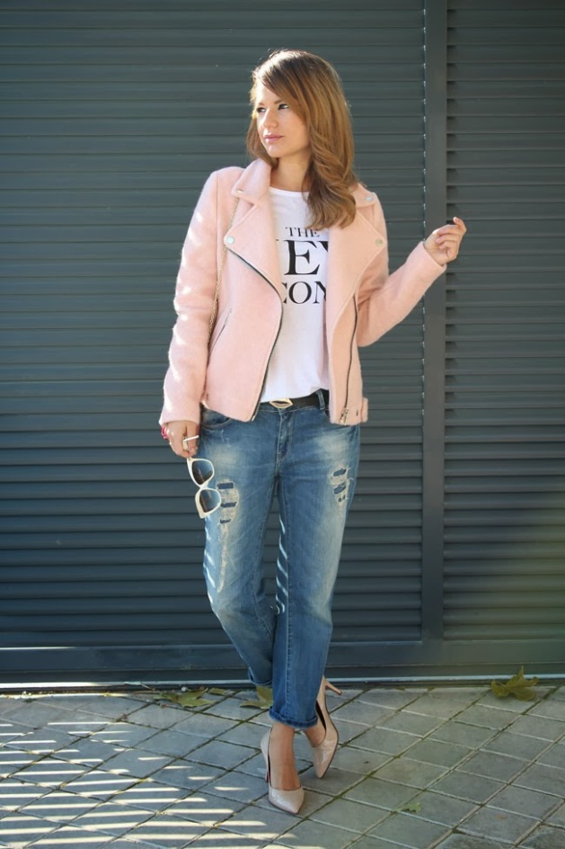 chaqueta, stradivarius, rosa, tendencia, outfit, mujer