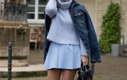 zara, tendencia, outfit, moda, mujer, azul, falda