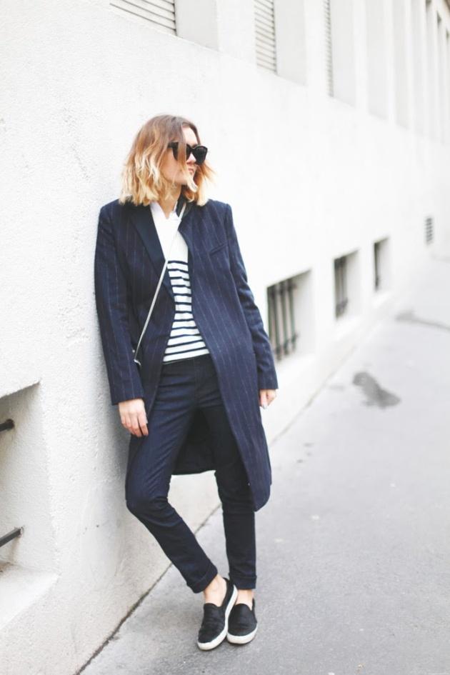 camiseta, navy, marinera, tendencia, mujer, outfit