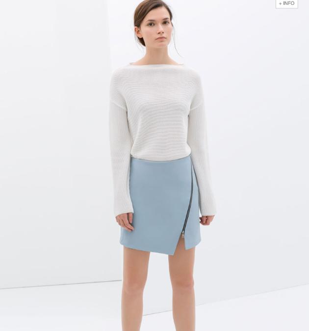 falda, asimétrica, cremallera, zara, tendencia, azul