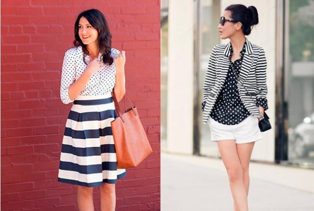 rayas, puntos, tendencia, outfit, mujer