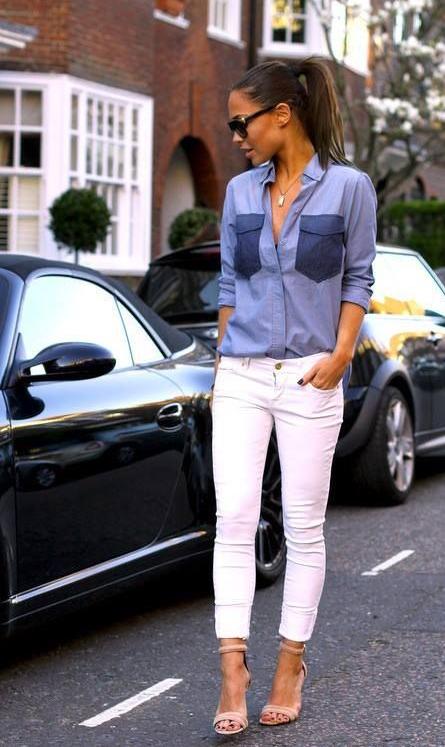 chambray, camisa, tendencia, outfit