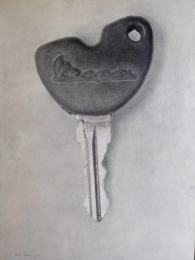 Javier Cabanas, dibujo, vespa, carboncillo, llave
