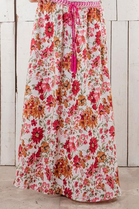 falda, larga, flores, print, flamenco