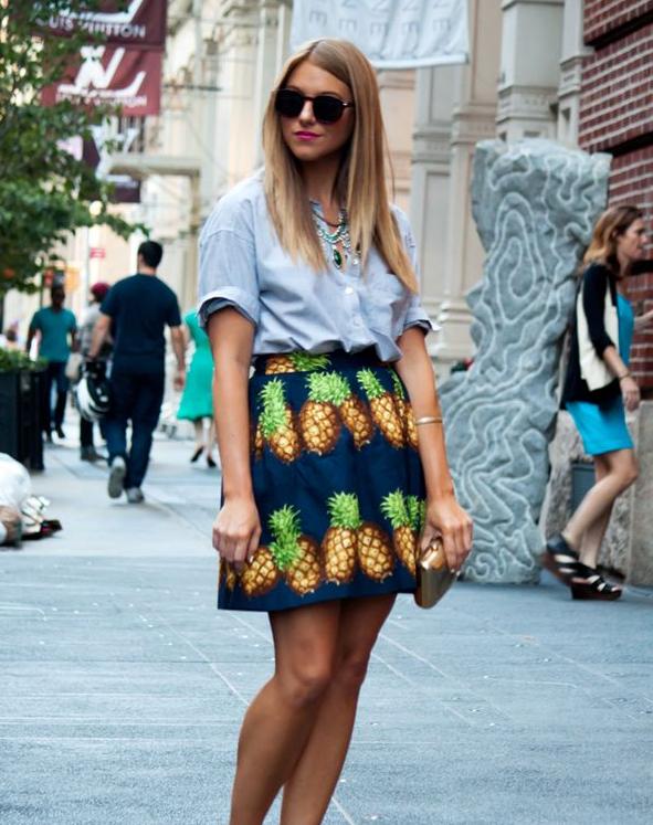 piña, pineapple, print, tendencia, mujer, outfit,