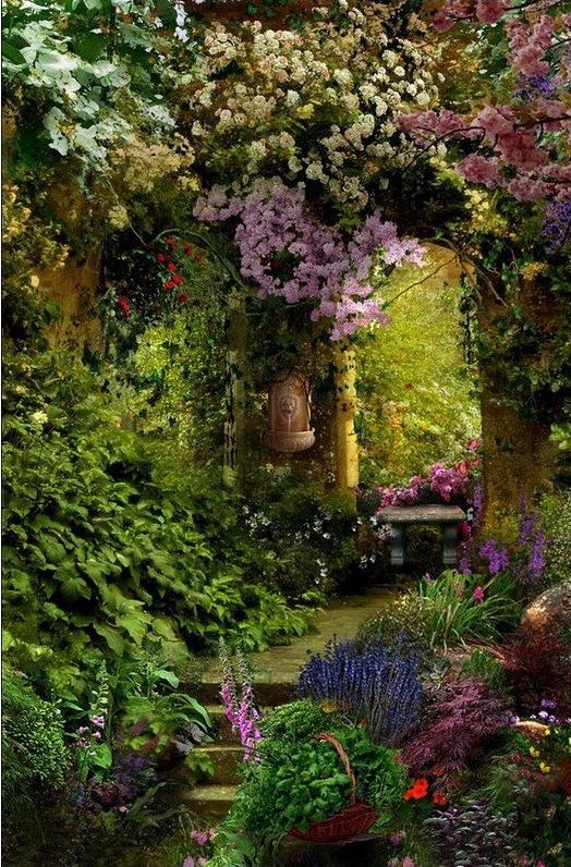 decoración, jardines, distribución, flores,