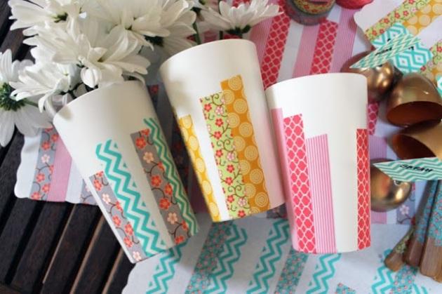 treintamasdiez, washi tape, celo, decoración con washi tape, vasos,