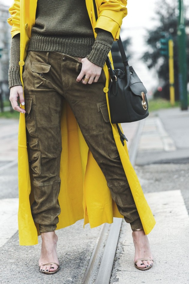 Ante Ralph_Lauren_Spring_Summer_2015-Yellow_Leather_Trench-Suede_Cargo-trousers-Khaki-Outfit-MFW-Milan_Fashion_Week-Collage_Vintage-Street_Style-23-790x1185